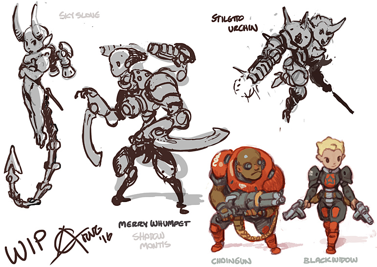 Chibi Doom character and monsters.